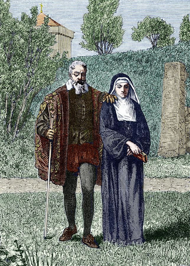 Galileo And His Daughter Maria Celeste Photograph