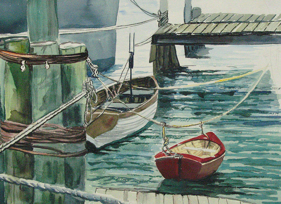 Galveston Boats Watercolor Painting  - Galveston Boats Watercolor Fine Art Print