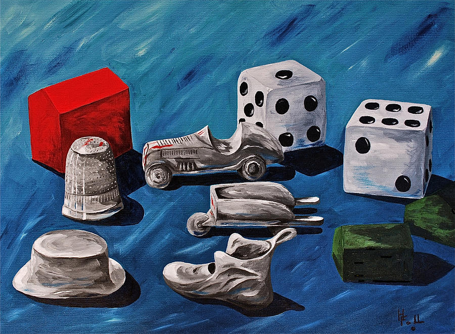 Game Pieces Painting  - Game Pieces Fine Art Print