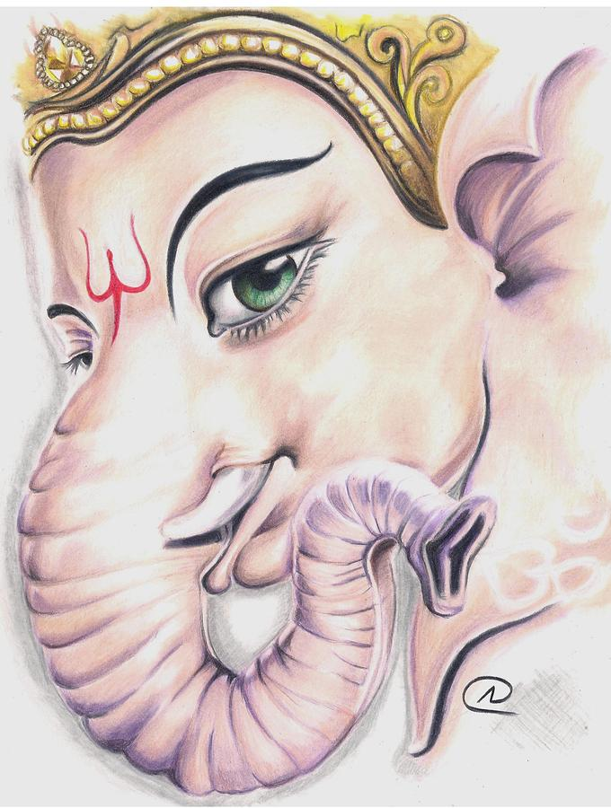 ganesh ji drawing by akshay nair