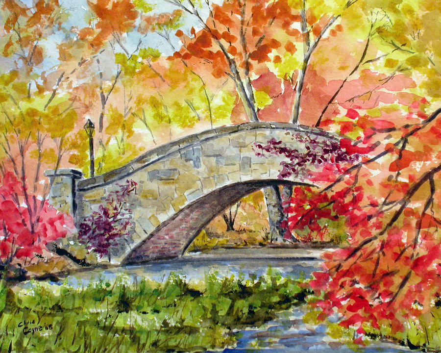 Gapstow Bridge In November Painting  - Gapstow Bridge In November Fine Art Print