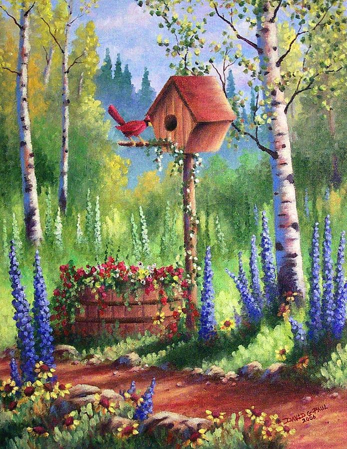 Garden Birdhouse Painting