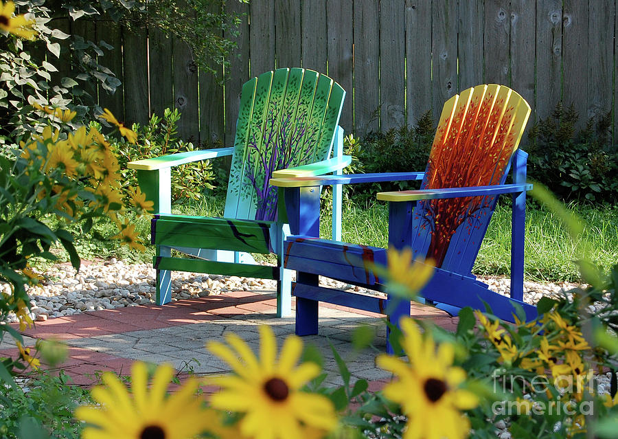 Garden Chairs Painting  - Garden Chairs Fine Art Print