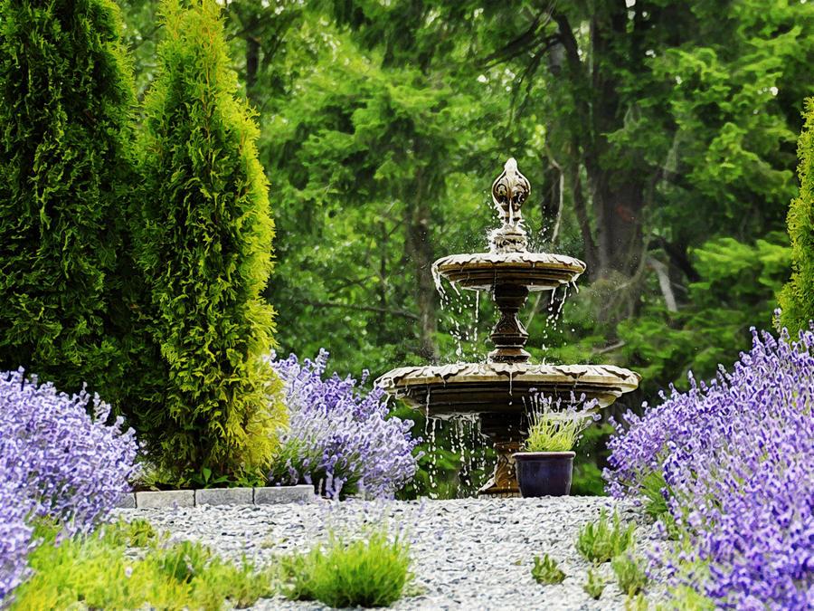 Garden Fountain By Marion Mccristall