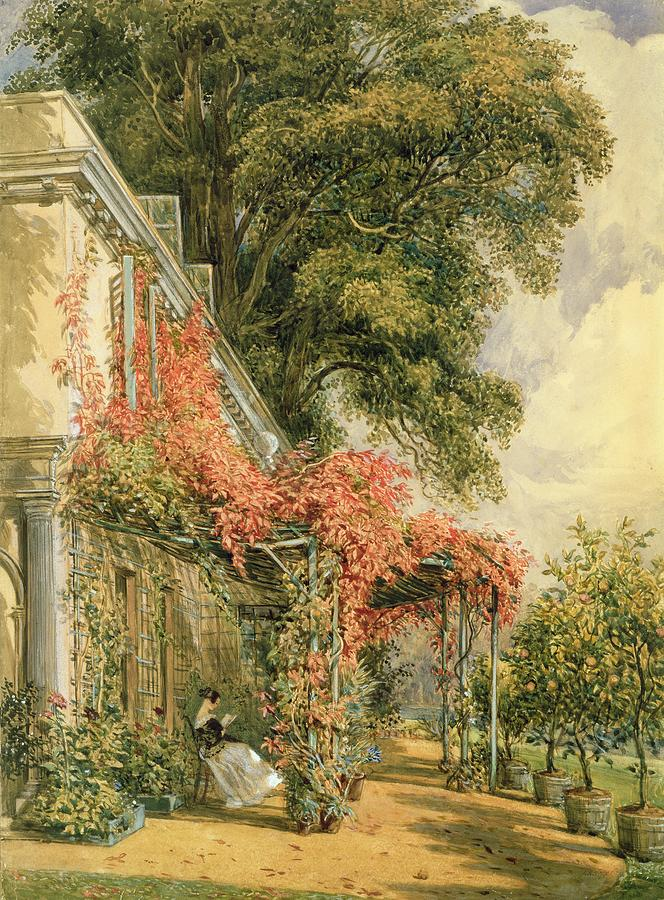 Garden Front Of Mr Robert Vernons House At Twickenham Painting  - Garden Front Of Mr Robert Vernons House At Twickenham Fine Art Print