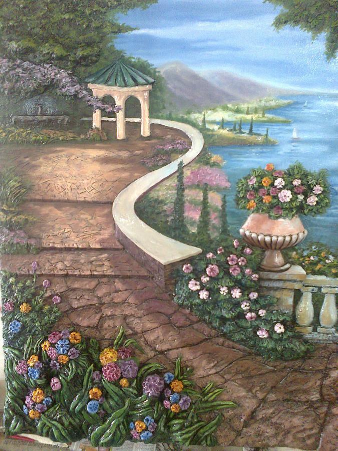 Landscape Painting - Garden View 3 by Prashant Hajare