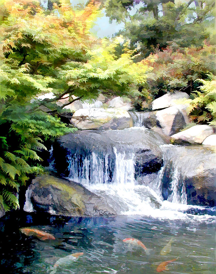 Garden waterfall with koi pond painting by elaine plesser for Outdoor waterfalls and ponds