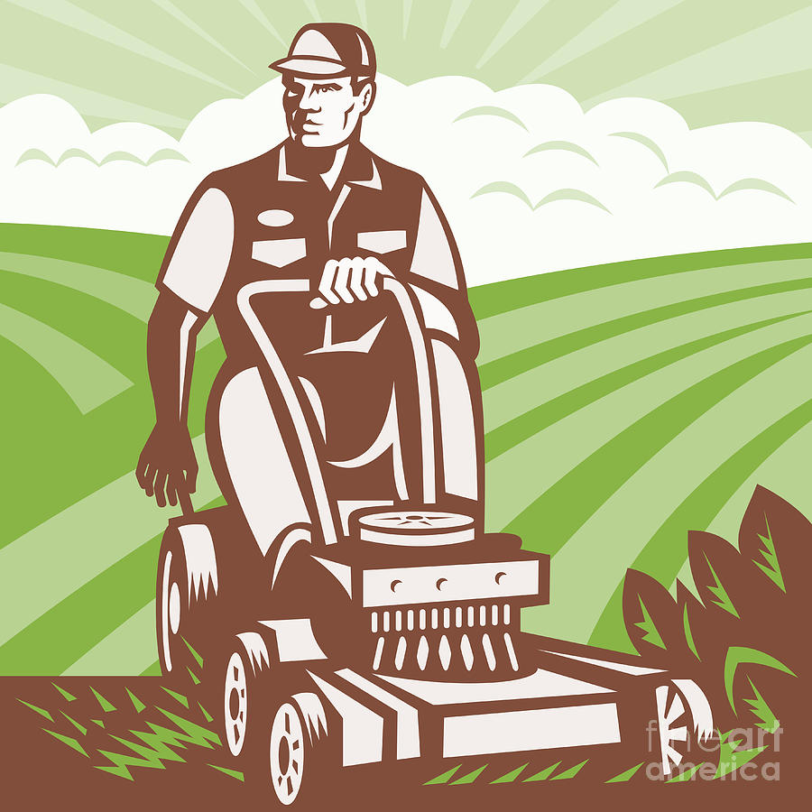 Gardener Landscaper Riding Lawn Mower Retro Digital Art  - Gardener Landscaper Riding Lawn Mower Retro Fine Art Print