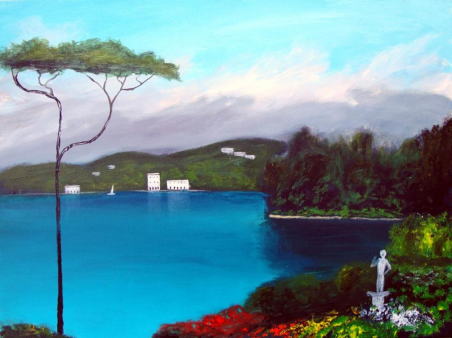 Gardens Of Lake Como Painting  - Gardens Of Lake Como Fine Art Print