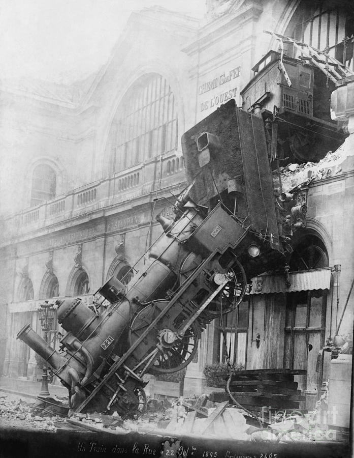 Gare Montparnasse Train Wreck, 1895 Photograph  - Gare Montparnasse Train Wreck, 1895 Fine Art Print