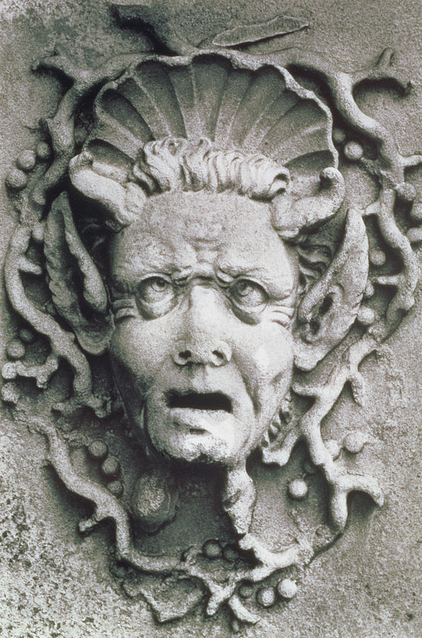 Grotesque; Monster; Monstrous; Head; Face; Sea Creature; Scallop Shell; Fantastical; Coral; Seaweed; Witch; Screaming; Bizarre; Horns; Pointed Ears; Demon; Siren; Cross-eyed; Mermaid Photograph - Gargoyle by Simon Marsden