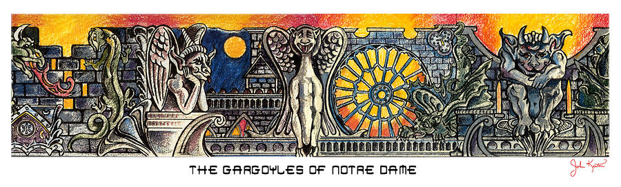 Gargoyles Of Notre Dame Painting