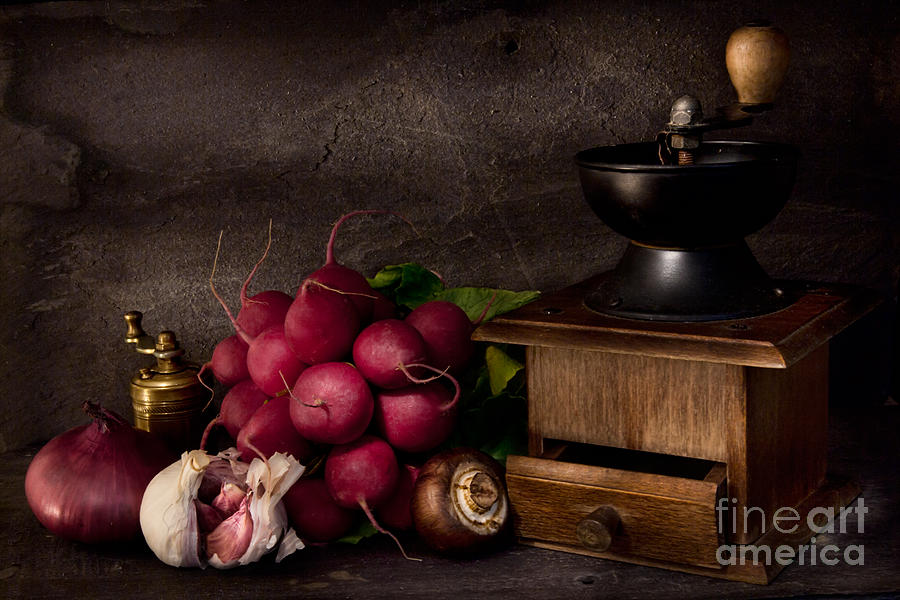 Food Photograph - Garlic And Radishes by Ann Garrett