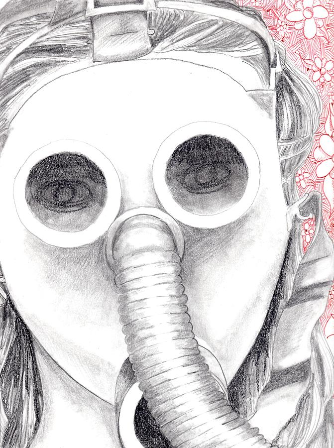 Gas Mask Drawing  - Gas Mask Fine Art Print