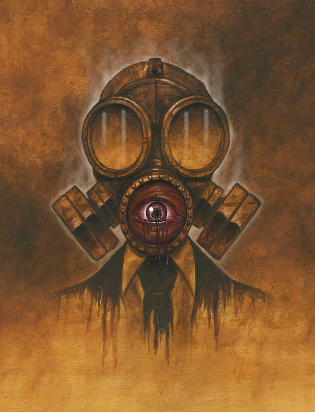gas mask painting by rusty sherrill