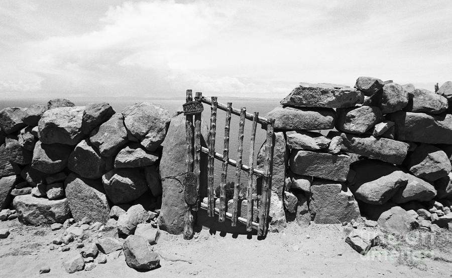 Gate Overlooking Lake Titicaca Photograph  - Gate Overlooking Lake Titicaca Fine Art Print