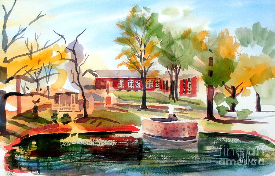 Gazebo Pond And Duck II Painting  - Gazebo Pond And Duck II Fine Art Print