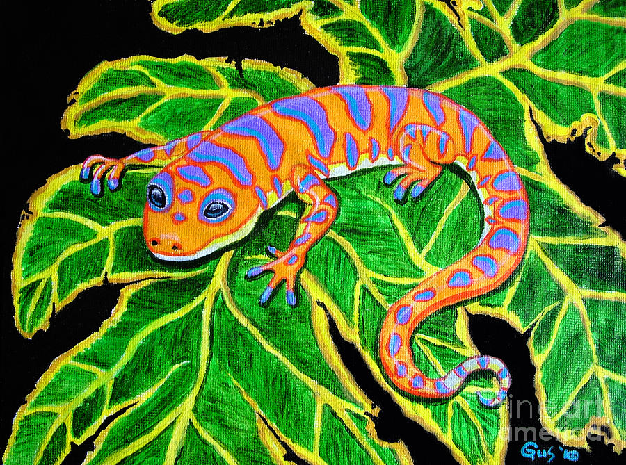 Gecko Hanging On Painting