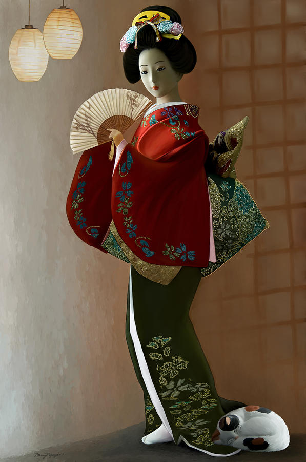 Geisha And Cat Digital Art