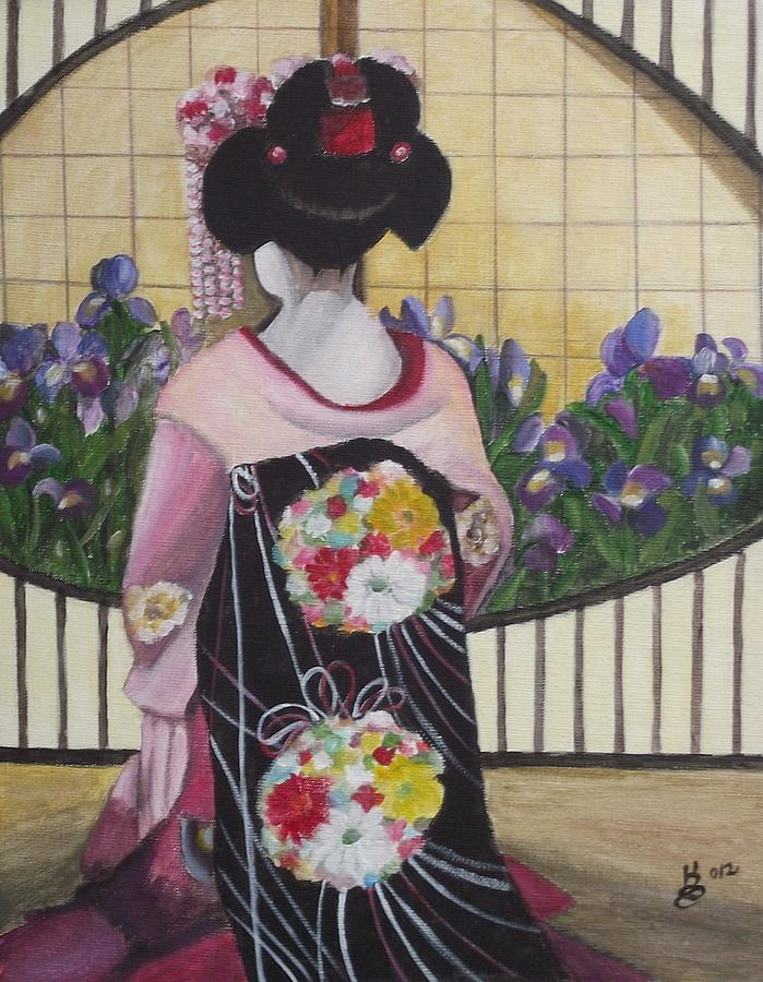 Geisha With Iris Painting  - Geisha With Iris Fine Art Print