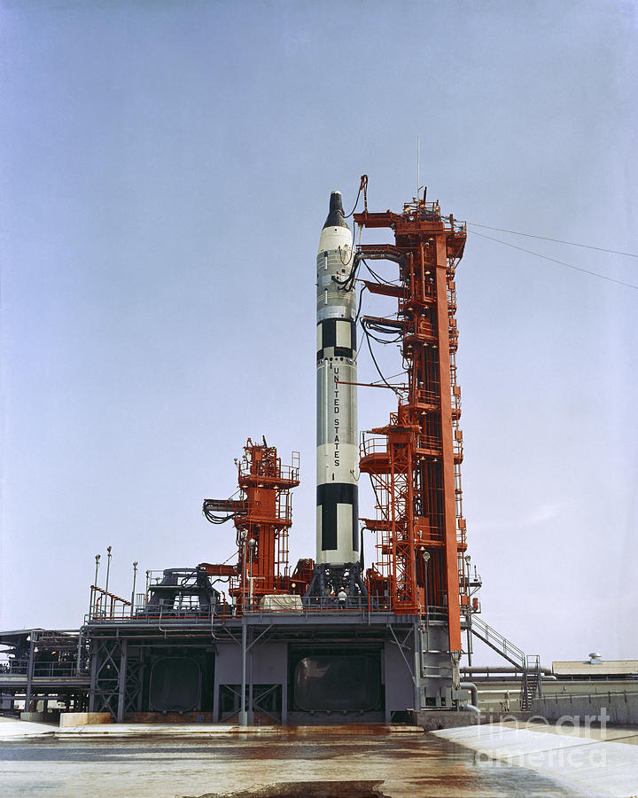 Gemini 5 Spacecraft On Its Launch Pad by Stocktrek Images