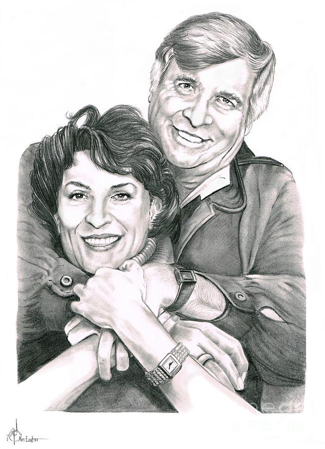 Gene And Majel Roddenberry Drawing  - Gene And Majel Roddenberry Fine Art Print