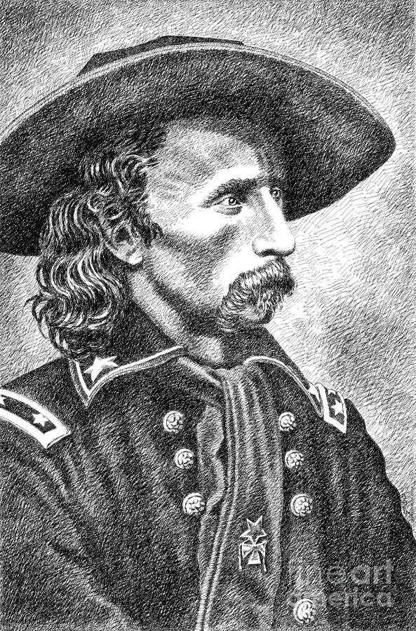 General Custer Drawing  - General Custer Fine Art Print