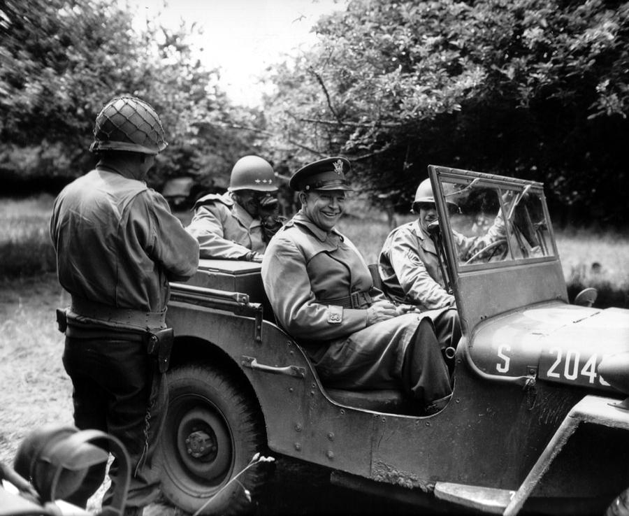 General Eisenhower In A Jeep Photograph  - General Eisenhower In A Jeep Fine Art Print