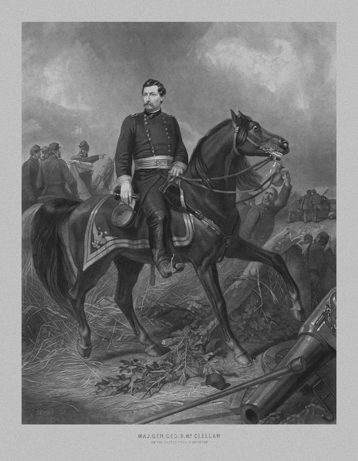 General George Mcclellan On Horseback Drawing