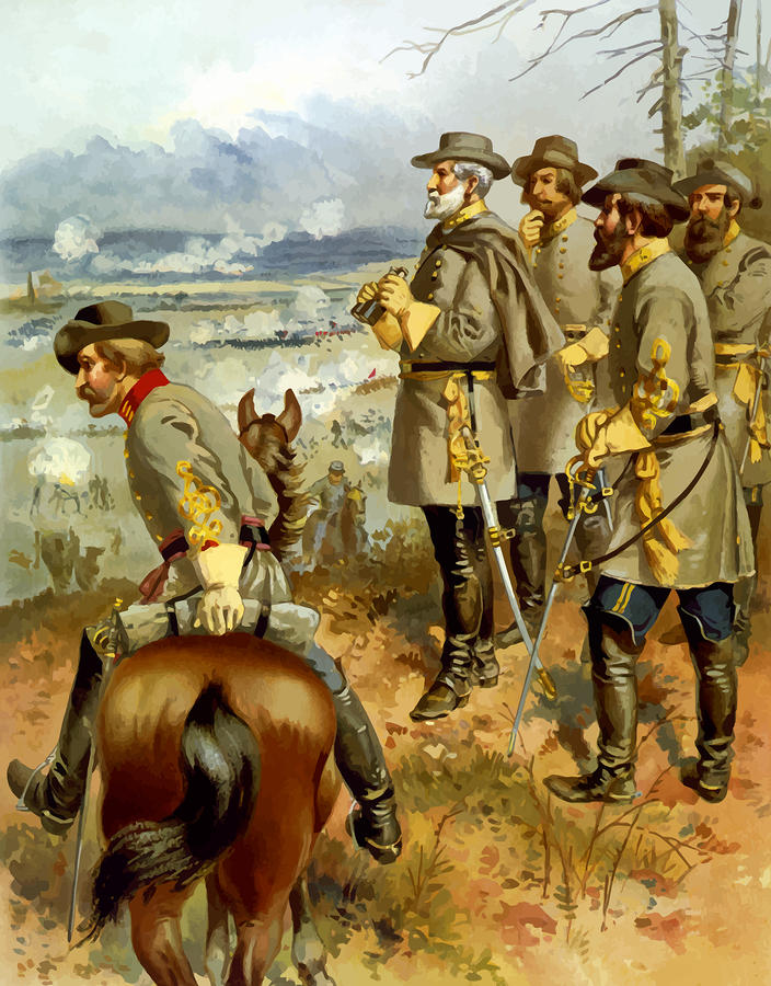 General Lee At The Battle Of Fredericksburg Painting