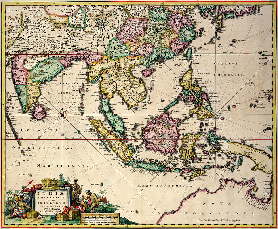 Maps Drawing - General Map Extending From India And Ceylon To Northwestern Australia By Way Of Southern Japan by Nicolaes Visscher Claes Jansz