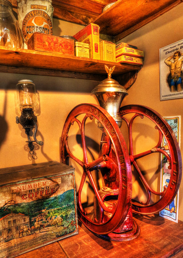Lee Dos Santos Photograph - General Store Coffee Mill - Nostalgia - Vintage by Lee Dos Santos