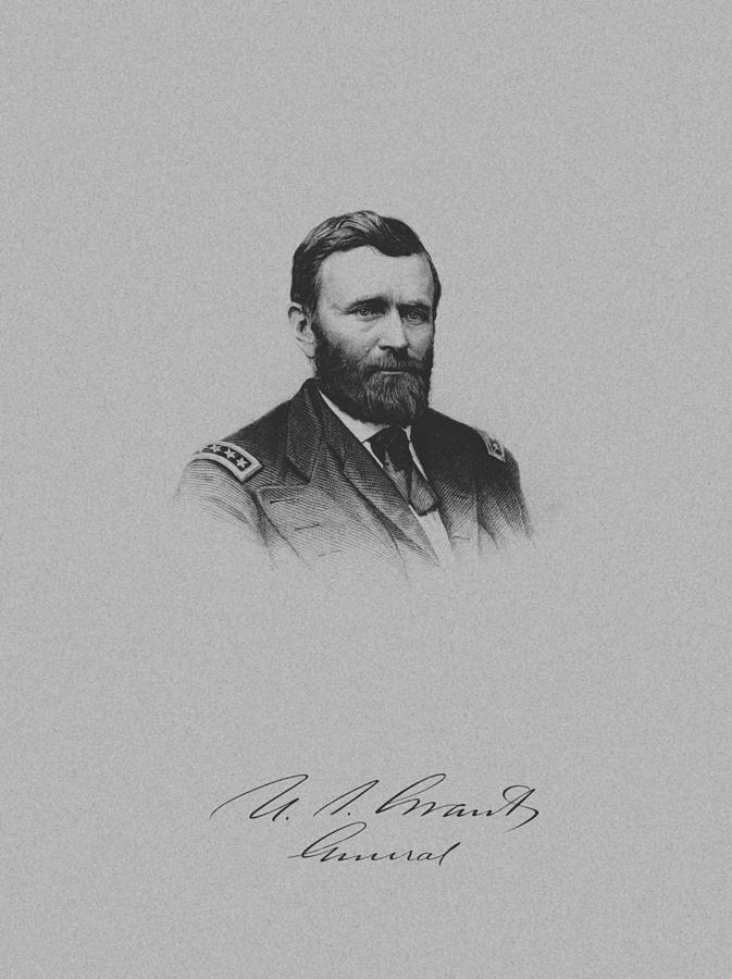 General Ulysses Grant And His Signature Drawing  - General Ulysses Grant And His Signature Fine Art Print