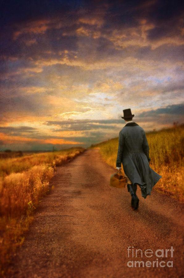 Gentleman Walking On Rural Road Photograph