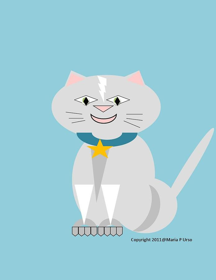 Cat Drawing - Geo Smiley Cat by Maria Urso