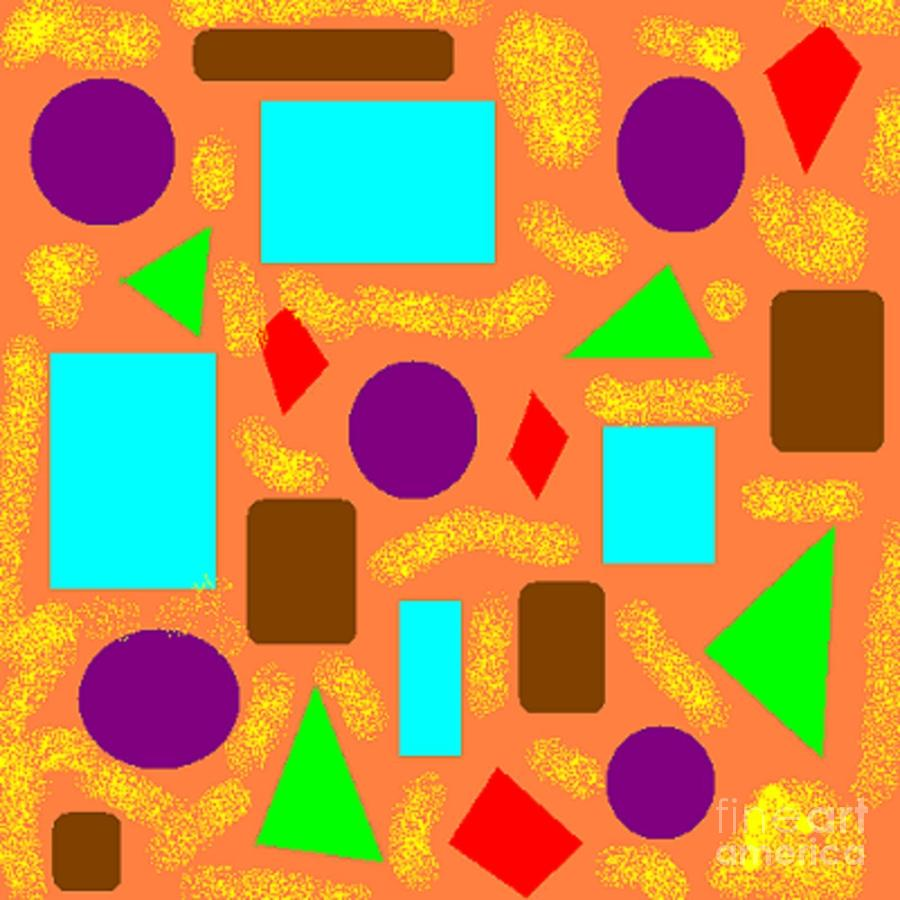 Geometric Abstract- Orange Digital Art