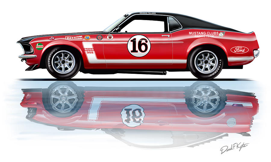Geore Follmer Trans Am Mustang Painting  - Geore Follmer Trans Am Mustang Fine Art Print
