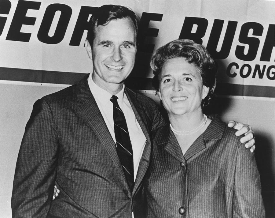 George And Barbara Bush In Houston Photograph  - George And Barbara Bush In Houston Fine Art Print