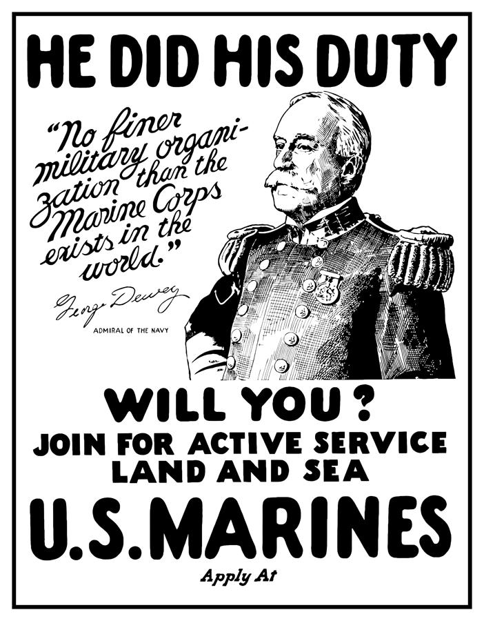 George Dewey Us Marines Digital Art  - George Dewey Us Marines Fine Art Print
