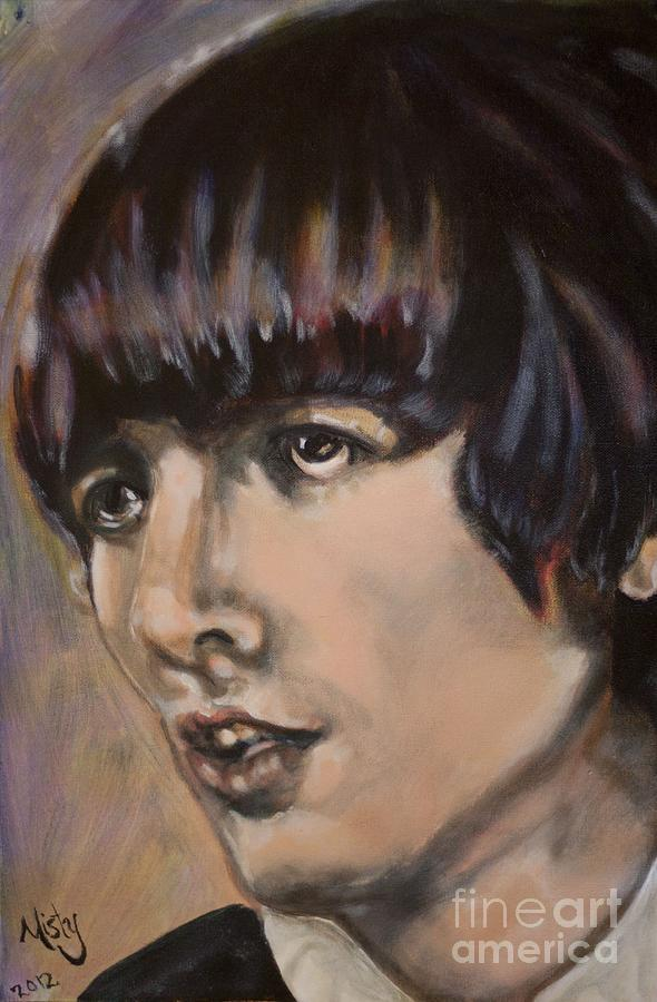 Portrait George Harrison The Beatles Pop Art Rock Icon Legend Sixties Painting - George Harrison 1 by Misty Smith
