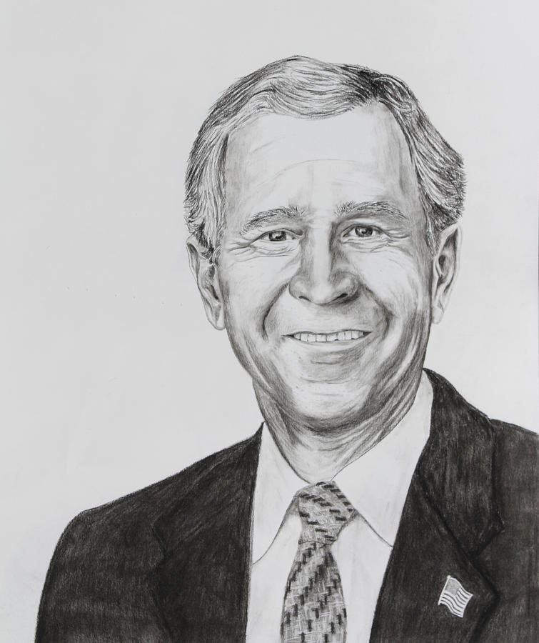 George W. Bush Drawing  - George W. Bush Fine Art Print