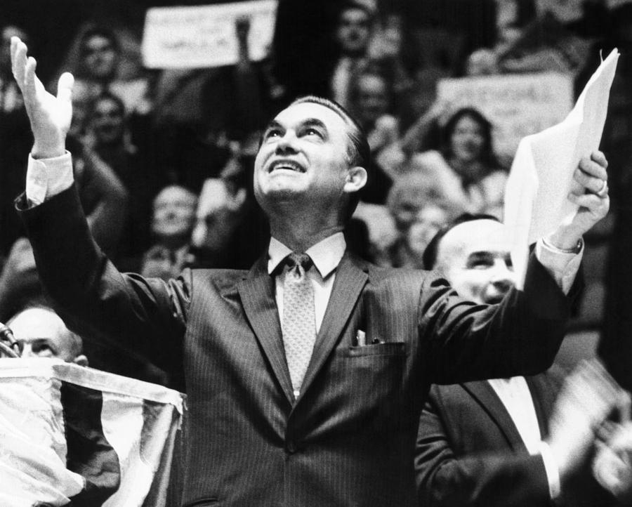 George Wallace Acknowledges The Cheers Photograph