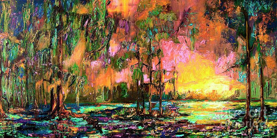 Georgia Landscape Okefenokee Sunset  Painting