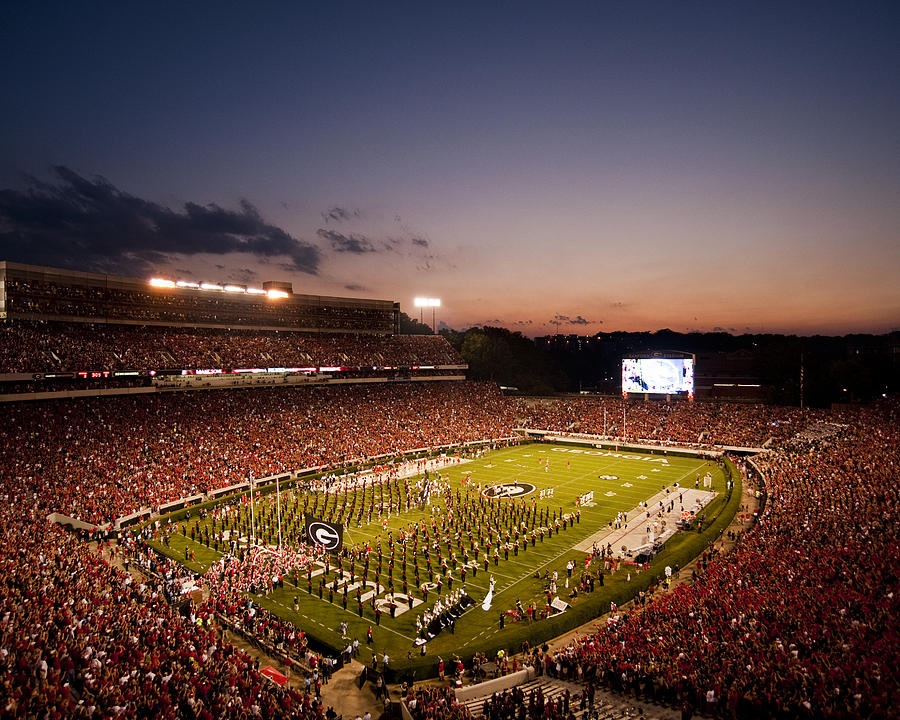 Georgia Sunset Over Sanford Stadium Photograph  - Georgia Sunset Over Sanford Stadium Fine Art Print