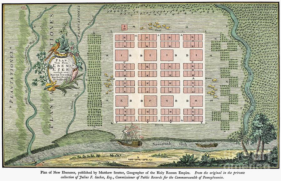 Georgia: Town Plan, 1734 Photograph by Granger - Georgia: Towngranger town