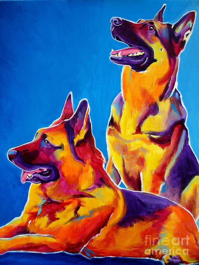 German Shepherd - Eiko And Erin Crop Painting