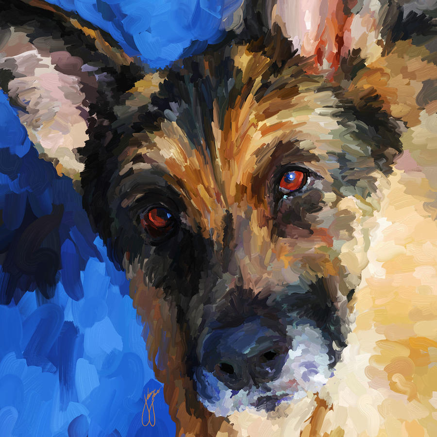 German Shepherd - Square Painting  - German Shepherd - Square Fine Art Print