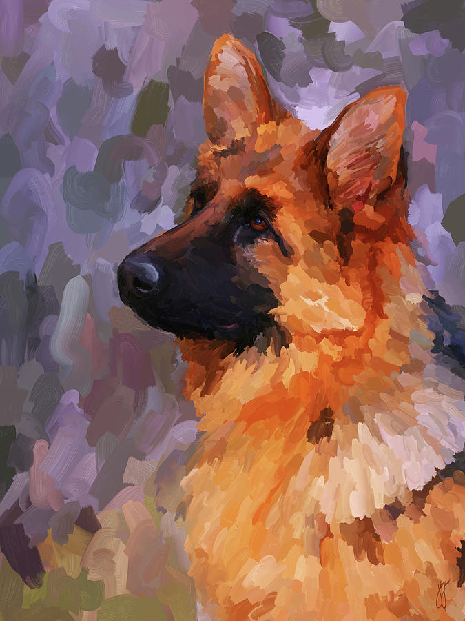 German Shepherd 2 Painting  - German Shepherd 2 Fine Art Print