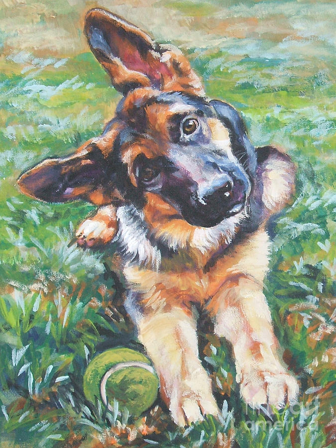 German Shepherd Pup With Ball Painting  - German Shepherd Pup With Ball Fine Art Print