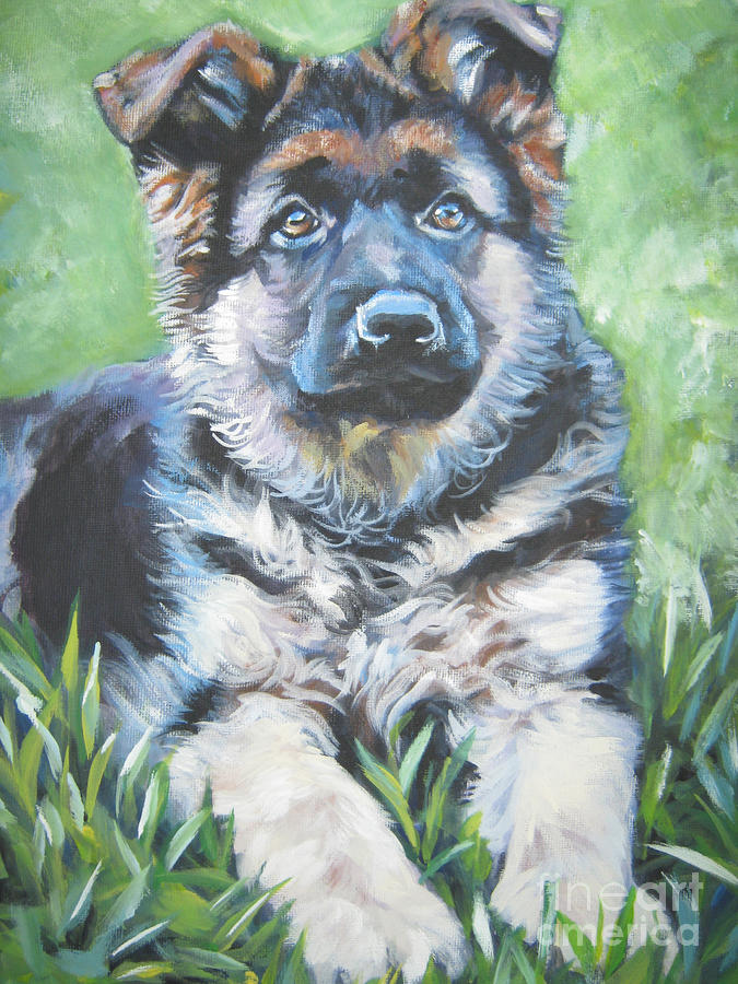 German Shepherd Puppy Painting